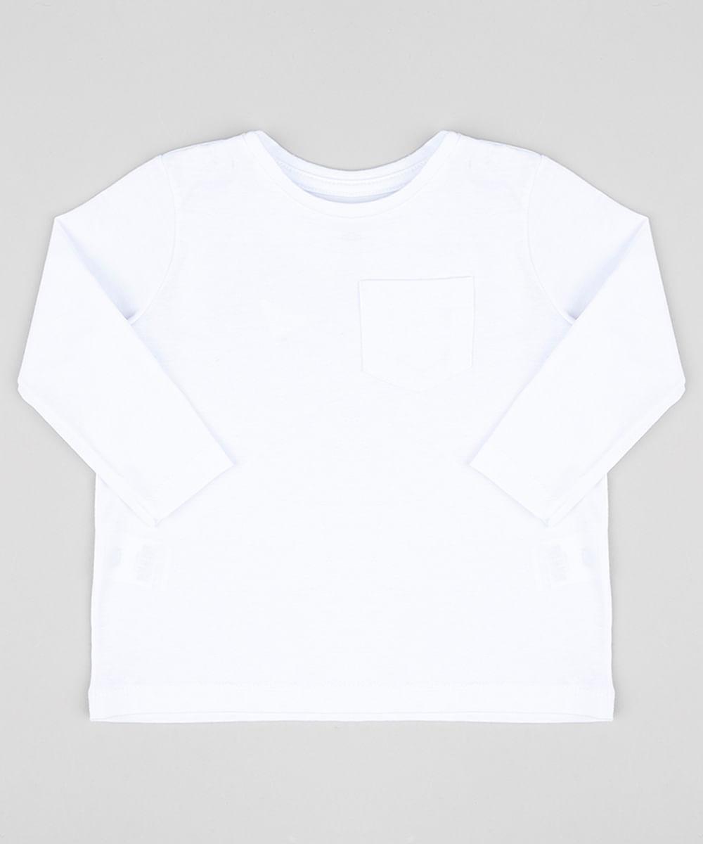 Camiseta Infantil Básica com Bolso Manga Longa Gola Careca Branca - cea 5c49a2593cd72
