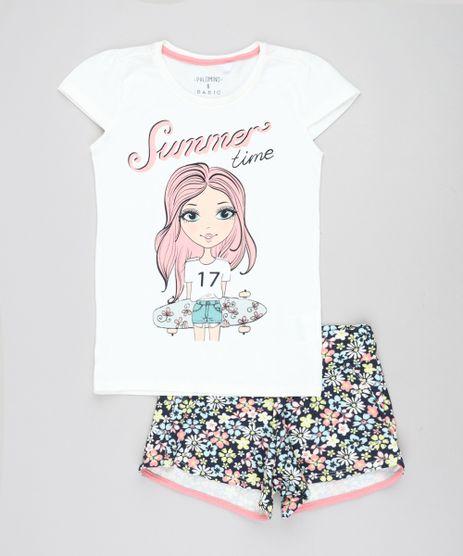 Conjunto-Infantil-de-Blusa--Summer-Time--Manga-Curta-Off-White---Short-Estampado-Floral-Azul-Marinho-9447900-Azul_Marinho_1