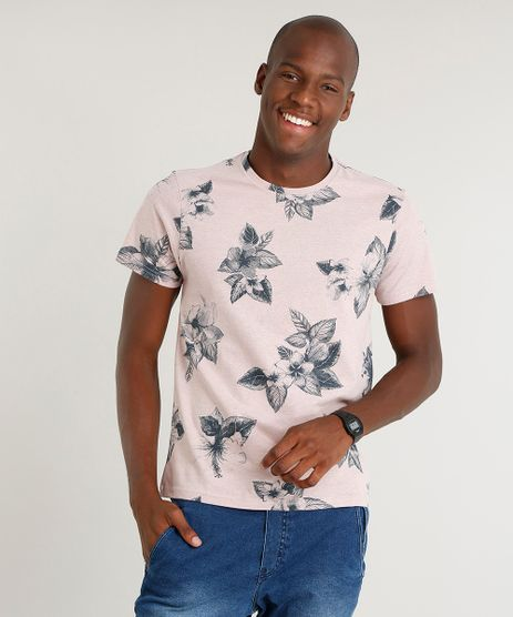 Camiseta-Masculina-Slim-Fit-Estampada-Floral-Manga-Curta-Gola-Careca-Rose-9415659-Rose_1