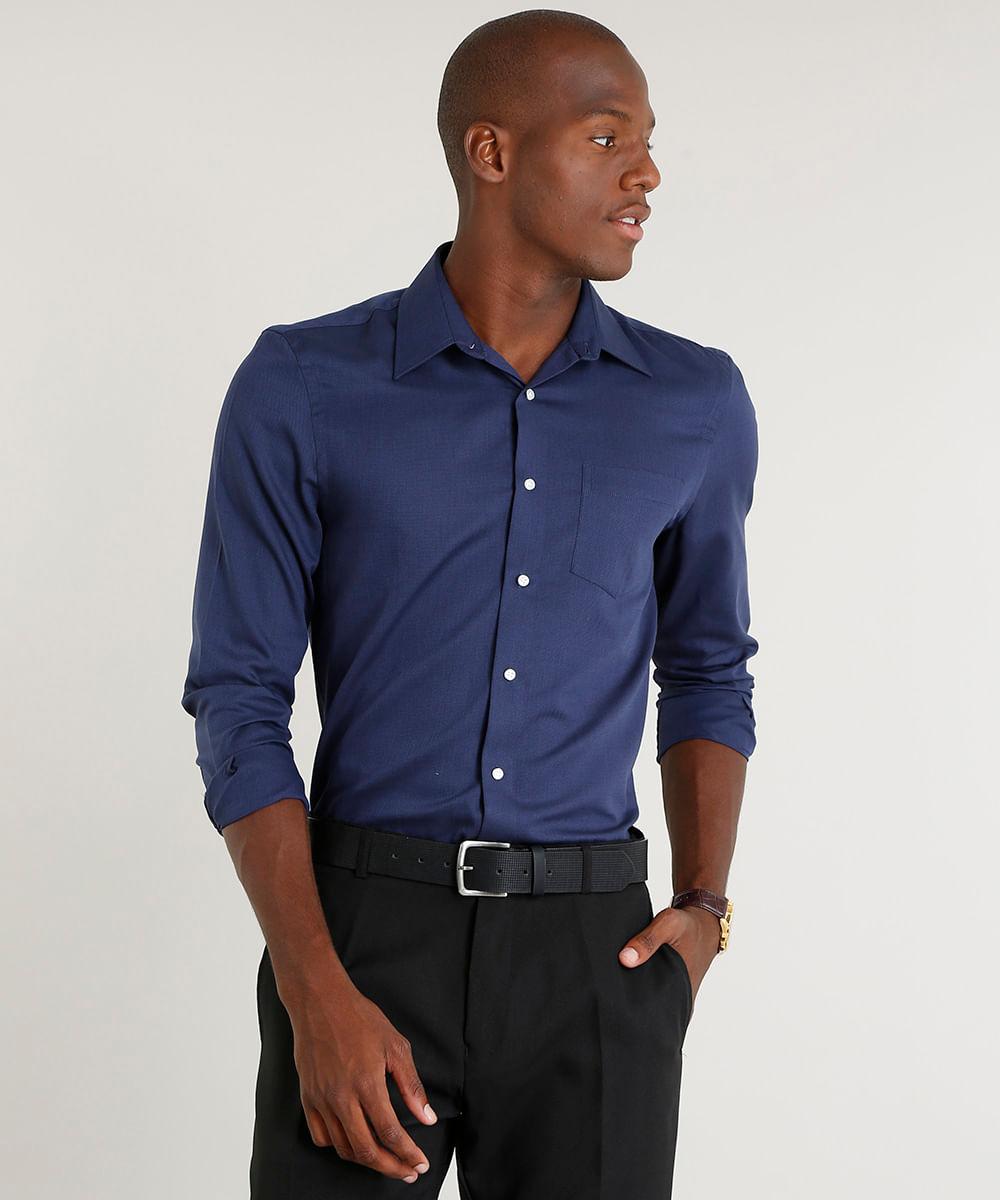 28f2108e32 Camisa Masculina Comfort com Bolso Manga Longa Azul Marinho - cea