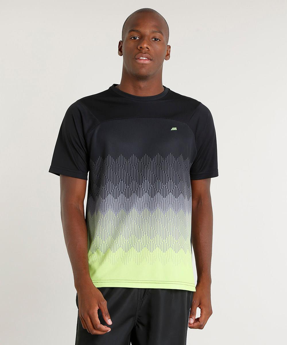 5c5b16df4b Camiseta Masculina Esportiva Ace com Estampa Geométrica Manga Curta ...