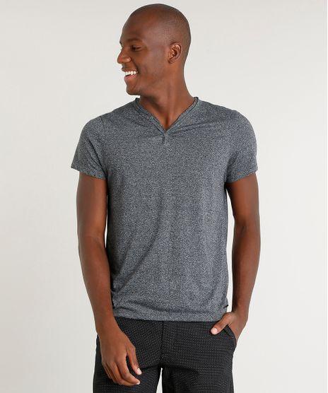 Camiseta-Masculina-Slim-Fit-com-Botoes-Manga-Curta-Gola-V-Cinza-Mescla-Escuro-9407026-Cinza_Mescla_Escuro_1
