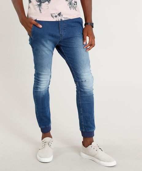Calca-Jeans-Masculina-Jogger-com-Cordao-Azul-Medio-9382196-Azul_Medio_1