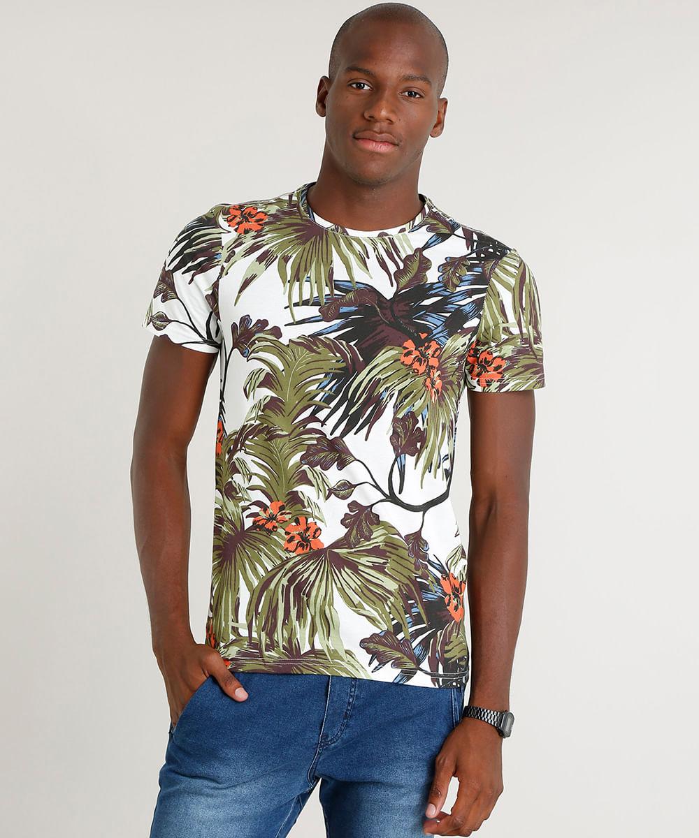 d2662e8743 Camiseta Masculina Slim Fit Estampada de Folhagem Manga Curta Gola ...