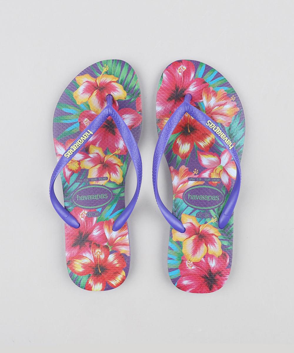 1b6c4248b Chinelo Feminino Havaianas Slim Estampado Floral Roxo Neon - cea