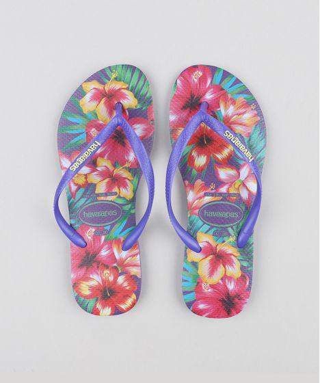 1022b35839 Chinelo Feminino Havaianas Slim Estampado Floral Roxo Neon - cea