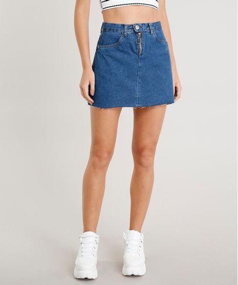 d75b35256 Saia Jeans Feminina Curta com Zíper de Argola Azul Escuro - cea