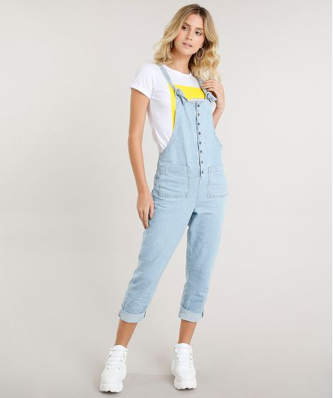 ad970f4c2 Macacão Jeans Feminino Longo com Nó na Alça Azul Claro - cea