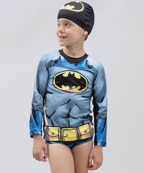 Conjunto-de-Camiseta-de-Praia-Infantil-Batman---Sunga---Touca-Preto-9300707-Preto_1