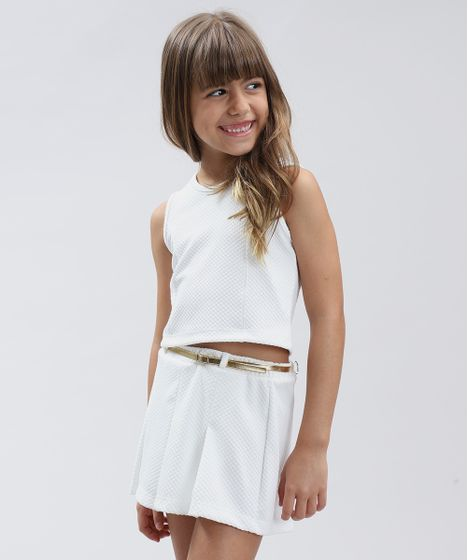 fa0f09ca1 Conjunto Infantil de Regata Cropped + Short Saia com Cinto Branco - cea