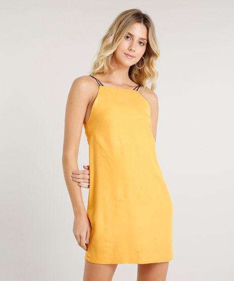Vestido-Feminino-Curto-com-Abertura--Mostarda-9447381-Mostarda_1