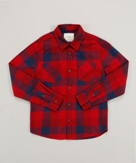 Camisa-Infantil-em-Flanela-Estampada-Xadrez-com-Bolso-Manga-Longa-Vermelha-9363304-Vermelho_1