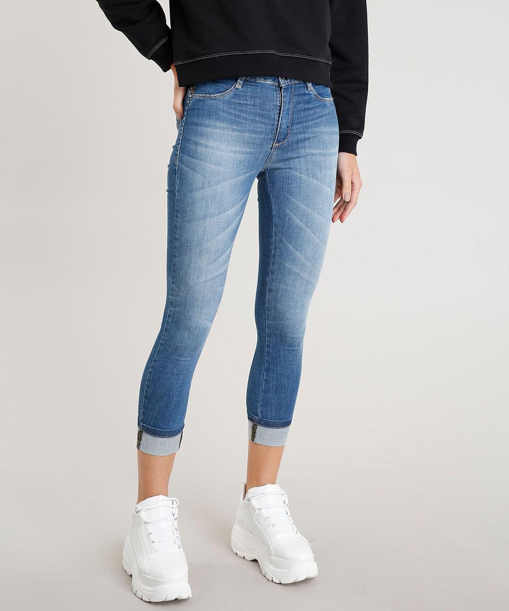 cb86caad88 Calça Jeans Feminina Cropped Sawary com Brilho Barra Virada Azul ...