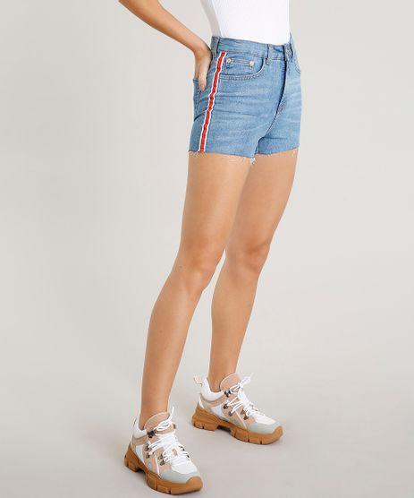 Short-Jeans-Feminino-Vintage-com-Faixa-Lateral-Azul-Claro-9458554-Azul_Claro_1
