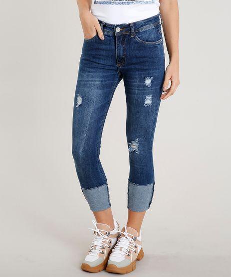Calca-Jeans-Feminina-Cropped-com-Puidos-Barra-Virada-Azul-Escuro-9458544-Azul_Escuro_1