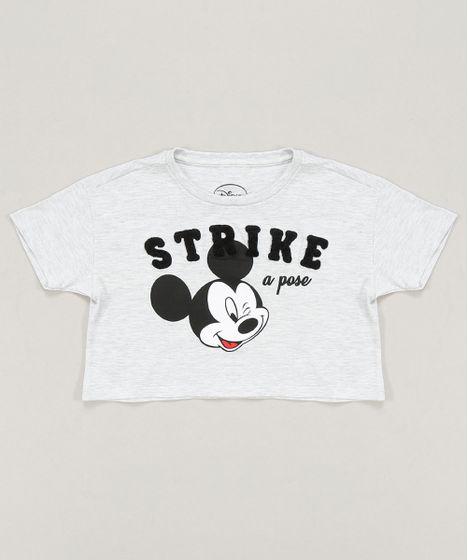 9b21fb5476d3 Blusa Infantil Mickey Cropped Manga Curta Decote Redondo Cinza ...