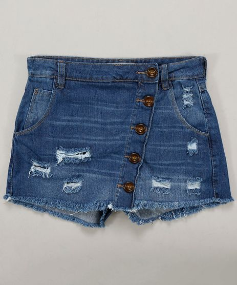 Short-Saia-Jeans-Infantil-Destroyed-com-Botoes-Azul-Medio-9413175-Azul_Medio_1