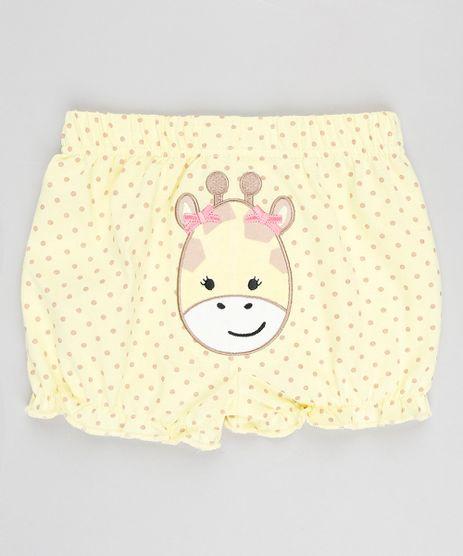 Short-Infantil-Girafa-Estampado-de-Poa-com-Babados-Amarelo-9188414-Amarelo_1