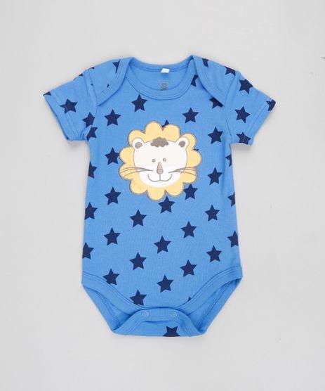 Body-Infantil-Leao-Estampado-de-Estrelas-Manga-Curta-Azul-9188444-Azul_1