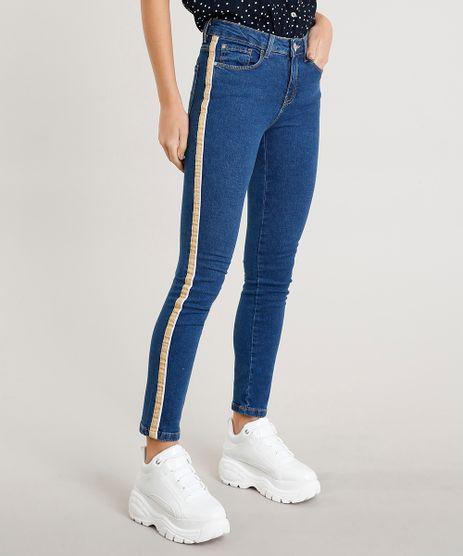 Calca-Jeans-Feminina-Skinny-com-Faixa-Lateral-Azul-Escuro-9386746-Azul_Escuro_1