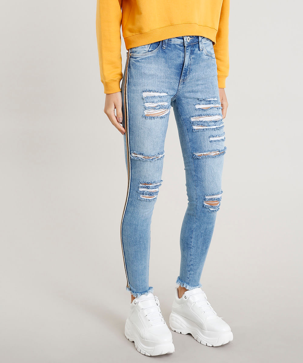 45171739e Calça Jeans Feminina Skinny Destroyed Cintura Alta Azul Claro - cea