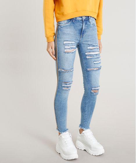 c7bb34163 Calça Jeans Feminina Skinny Destroyed Cintura Alta Azul Claro - cea