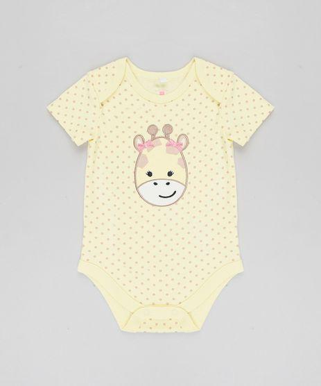 Body-Infantil-Girafa-Estampado-de-Poa-Manga-Curta-Amarelo-9188411-Amarelo_1