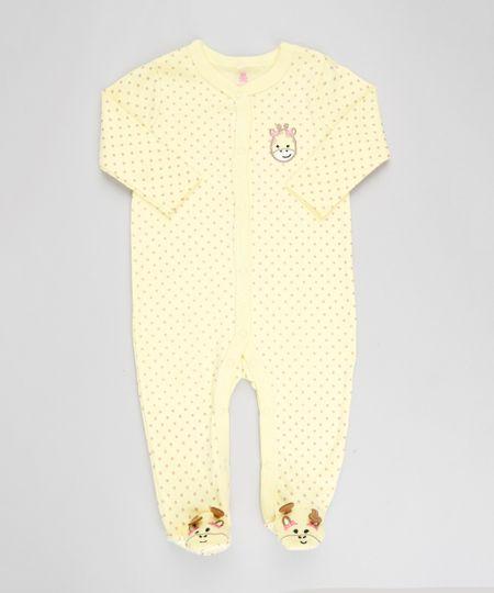 b47490febf Macacão Infantil Girafa Estampado de Poá Manga Longa Amarelo - cea
