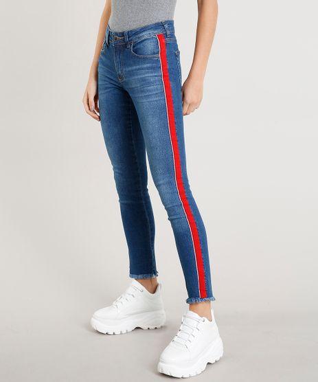 Calca-Jeans-Feminina-Skinny-com-Faixa-Lateral-Azul-Medio-9458562-Azul_Medio_1
