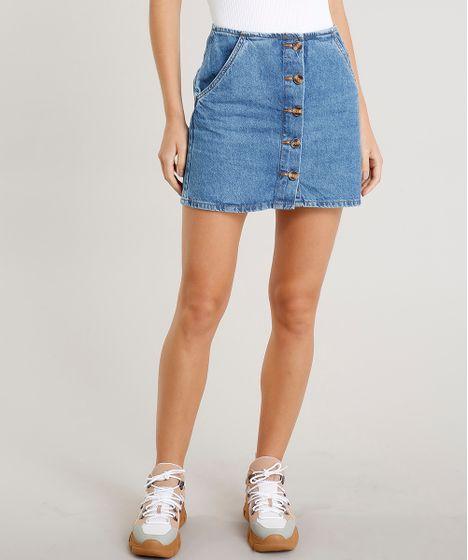 b94ee996f Saia Jeans Feminina Curta com Botões e Bolsos Azul Médio - cea