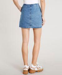 70b8f4848 Saia Jeans Feminina Curta com Botões e Bolsos Azul Médio ...