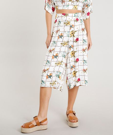 Calca-Pantacourt-Feminina-Cintura-Alta-Estampada-Floral-Branca-9368926-Branco_1