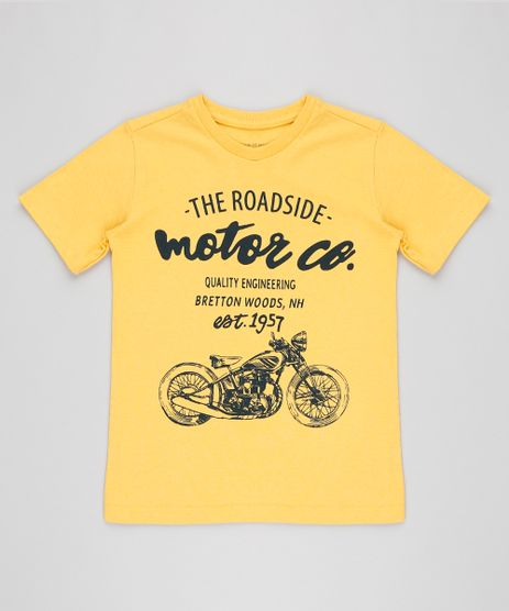 Camiseta-Infantil-Motocicleta-Manga-Curta-Gola-Careca-Mostarda-9413259-Mostarda_1