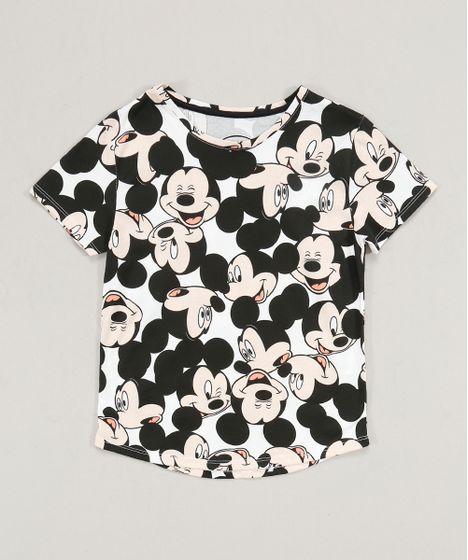7a8b78dae Blusa Infantil Mickey Estampada Manga Curta Decote Redondo Branca - cea