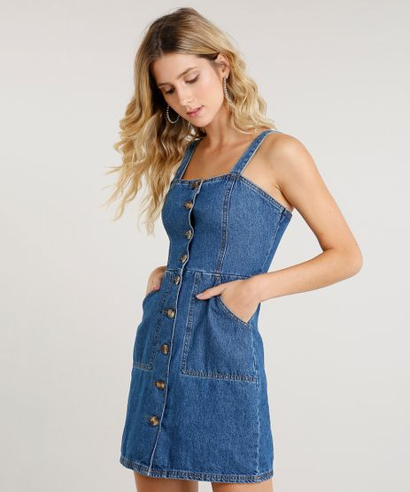 Vestido-Jeans-Feminino-Curto-com-Botoes-Azul-Medio-9458570-Azul_Medio_1