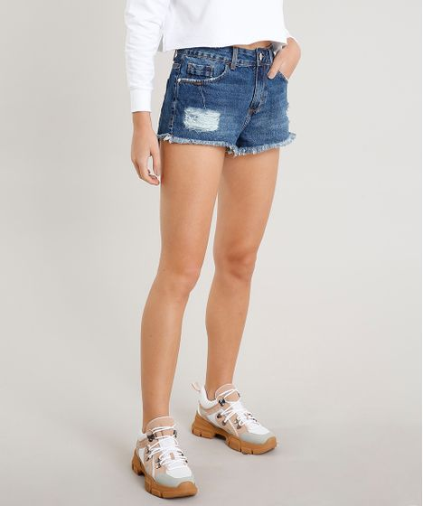 3d4db755a Short Jeans Feminino Boy Destroyed Barra Desfiada Azul Escuro - cea