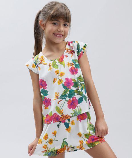 Conjunto-Infantil-de-Blusa-Estampada-Floral-Manga-Curta---Short-com-Laco-Branco-9389414-Branco_1