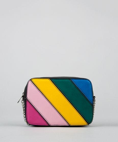 Bolsa-Transversal-com-Listras-Coloridas-e-Corrente-Preta-9359470-Preto_1