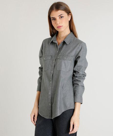 Camisa-Jeans-Feminina-Mindset-com-Bolsos-Manga-Longa-Preta-9479850-Preto_1