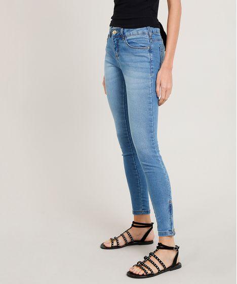 e75f29d8b Calça Jeans Feminina Super Skinny com Zíper na Barra Azul Claro - cea
