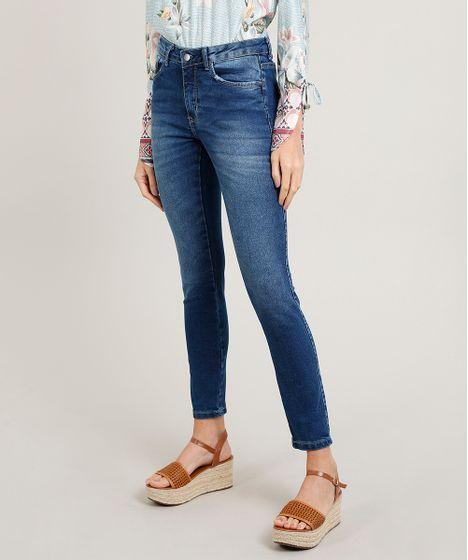c532901cd Calça Jeans Feminina Skinny Cintura Média Azul Médio - cea