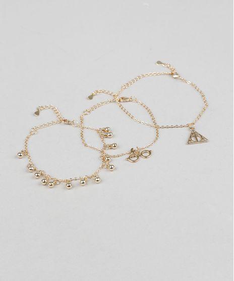 Kit-de-3-Pulseiras-Femininas-Harry-Potter-Dourada-9289216-Dourado_1