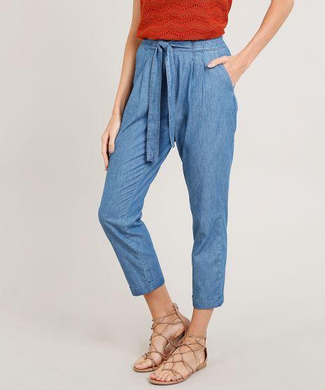 Calca-Jeans-Clochard-Feminina-com-Amarracao-e-Bolsos-Azul-Claro-9381646-Azul_Claro_1