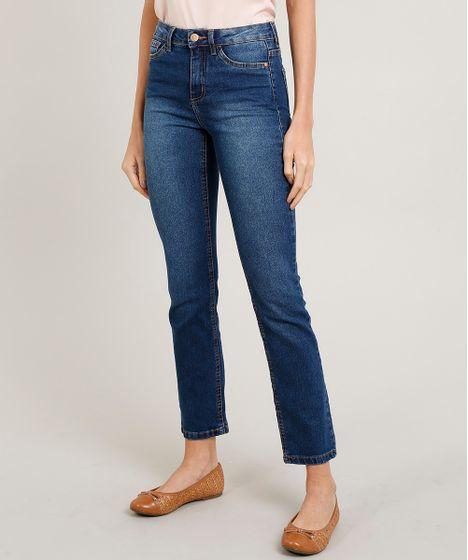 34a016f11 Calça Jeans Feminina Reta Cintura Média com Bolsos Azul Escuro ...