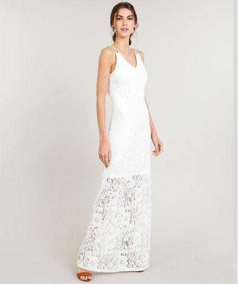 cb47528a2c Vestido Feminino Longo em Renda Alça Dupla Decote V Off White - cea