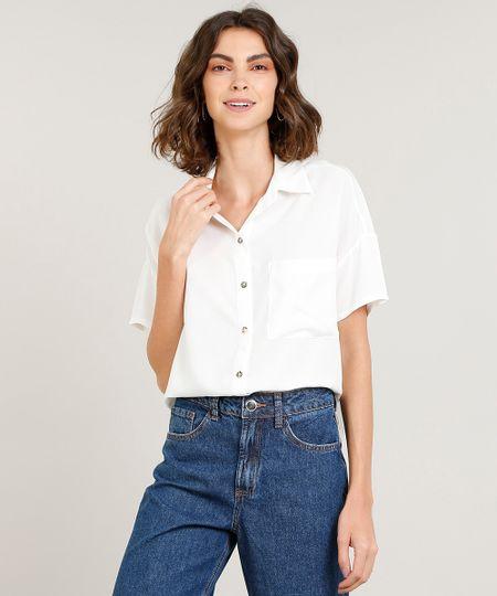 Camisa Feminina com Bolso Manga Curta Off White - cea 339208717b88e