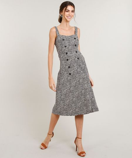 35d0b454bb Menor preço em Vestido Feminino Midi Estampado Animal Print com Botões Alça  Média Bege