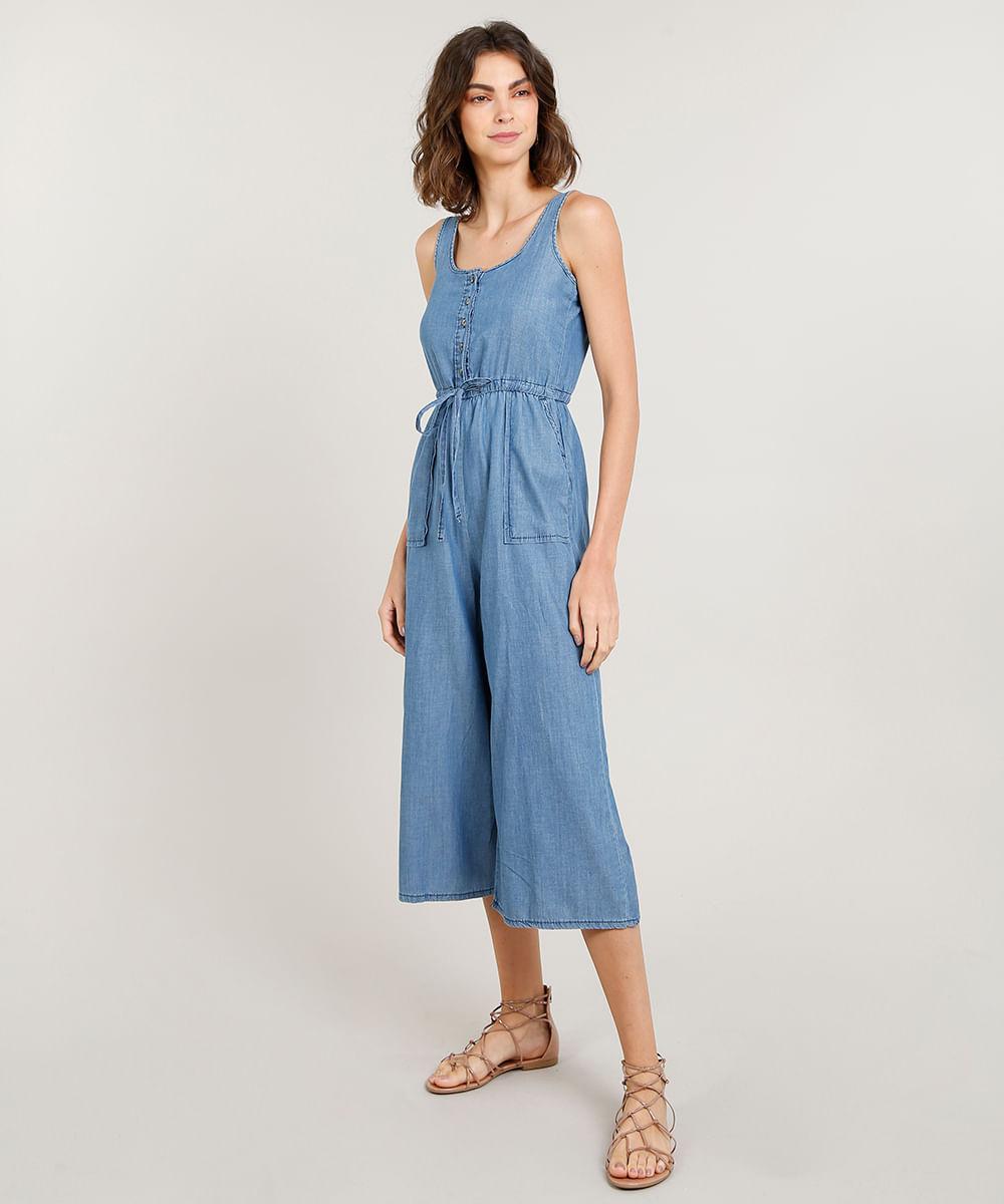 260159dfa Macacão Jeans Feminino Pantacourt com Botões Alça Média Azul Claro - cea