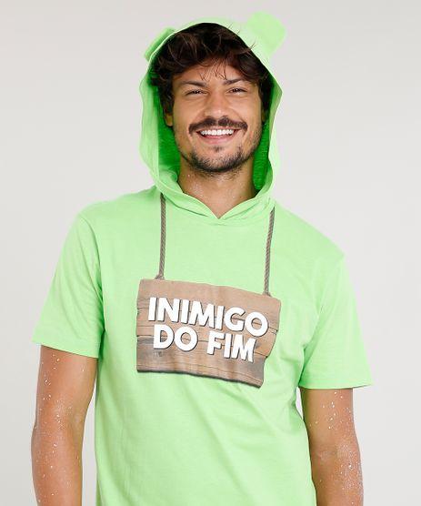 Camiseta-Masculina-Carnaval-Ursinho--Inimigo-do-Fim--com-Capuz-de-Orelhinhas-Manga-Curta--Verde-Claro-9482595-Verde_Claro_1