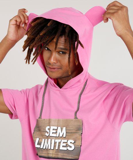 Camiseta-Masculina-Carnaval-Ursinho--Sem-Limites--com-Capuz-de-Orelhinhas-Manga-Curta--Rosa-9482591-Rosa_1